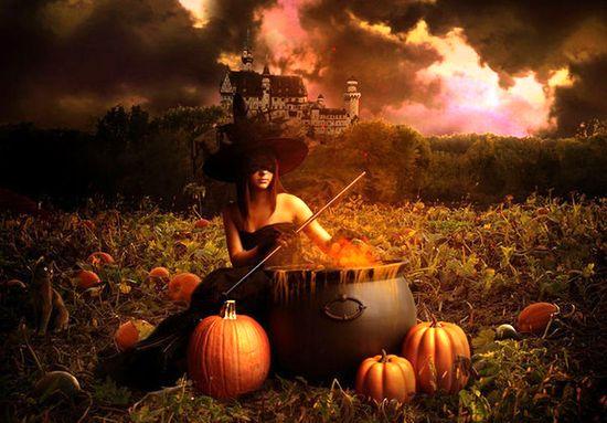 Колдунья варит зелье для праздника Хэллоуин